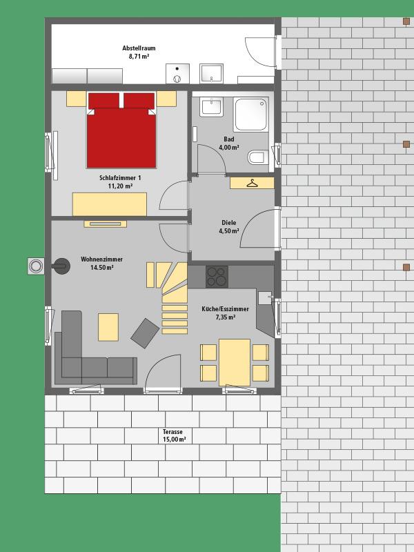 Schaefer Ferienhaus . Via Claudia 54 . Grundriss Erdgeschoss